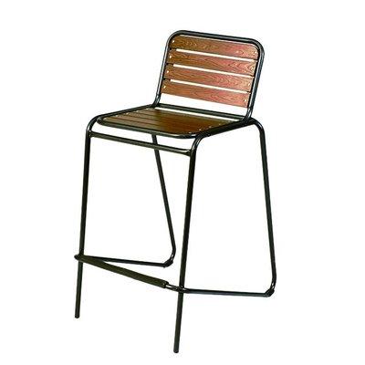 【紅豆戶外休閒傢俱】鐵製高腳塑木椅(2張/組)/工業風餐椅/咖啡吧台椅/吧檯椅戶外休閒桌椅/戶外休閒傘