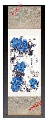 【幸運星】55*150cm 開運 風水畫 藍色 牡丹畫 招財 招桃花  0915 辦公室客廳 卷軸畫 G18