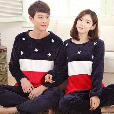 《 HelloMiss 》冬季 男女 情侶 加厚 加絨 珊瑚絨 法蘭絨 大碼 可愛 藍色星空 睡衣 居家服 套裝