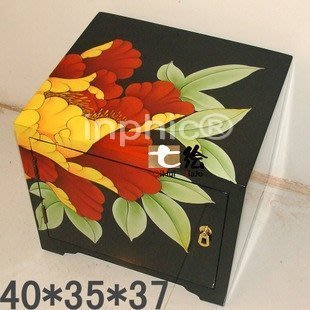 INPHIC-簡約漆器金箔手繪 帶儲物板凳矮床頭小櫃換鞋凳