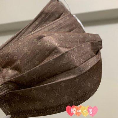 [韓娜]淺咖微金5⃣️片ㄧ組特殊老花收藏款 有L*/ &V成人平面口罩ㄧ次性口罩非醫(搜尋?韓娜口罩)絕美中之絕版款等您來收藏衛生品
