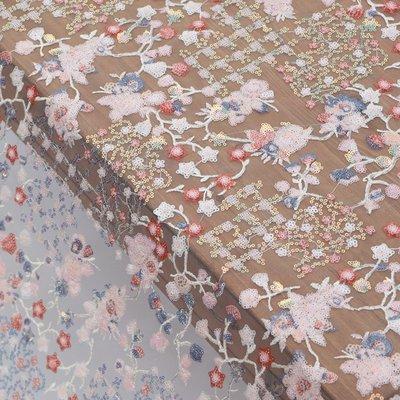 橙子的店 W243彩色亮片3D立體刺繡網紗繡花面料禮服服裝布料