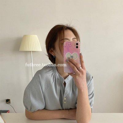 地殼Sport 夢幻紫粉小花愛心相框直邊手機殼適用iPhone12軟78p蘋果XR