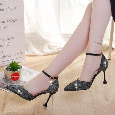 高跟鞋 貓跟女鞋韓版百搭亮片中空單鞋一字扣涼鞋細跟