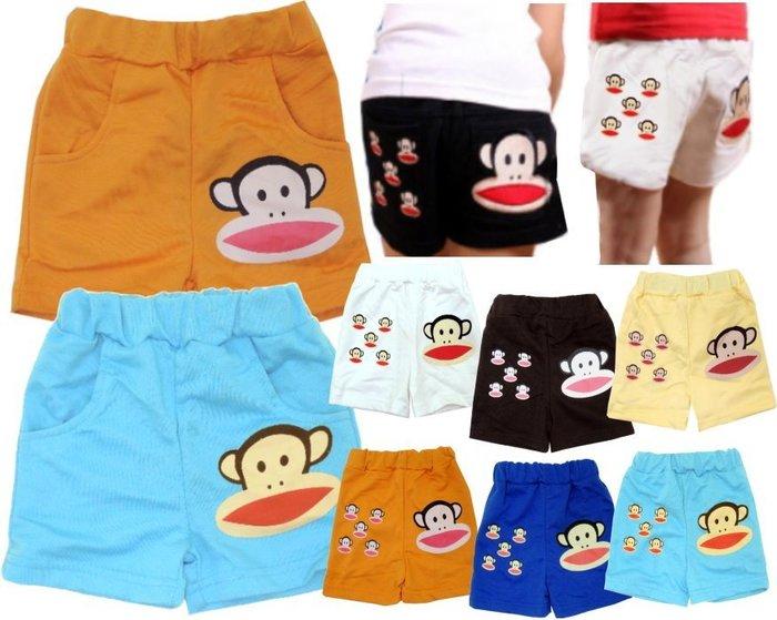 媽咪家【F075】F75雙口袋猴子褲 闊嘴猴 短褲 熱褲 小短褲 百搭 夏天必備款~90-130 特價優惠