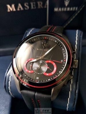 瑪莎拉蒂手錶MASERATI手錶TRAGURDO款,編號:R8871612023,黑色錶面黑紅色皮革錶帶款