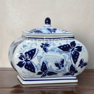 INPHIC-青花蝴蝶陶瓷四方儲物罐帶蓋 裝飾罐 新中式家裝擺飾擺設