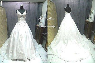 *~時尚屋~*二手婚紗禮服~《二手白紗》米白法式時尚設計師精緻A字造型款~E602(歡迎預約試穿)