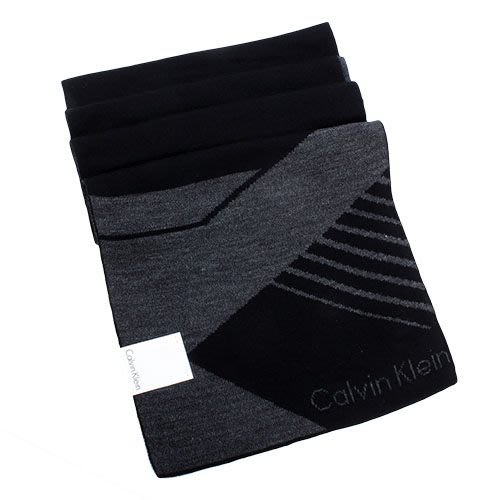 【姐只賣真貨】Calvin Klein CK新款斜紋圖騰雙色LOGO圍巾(黑色/酒紅色)