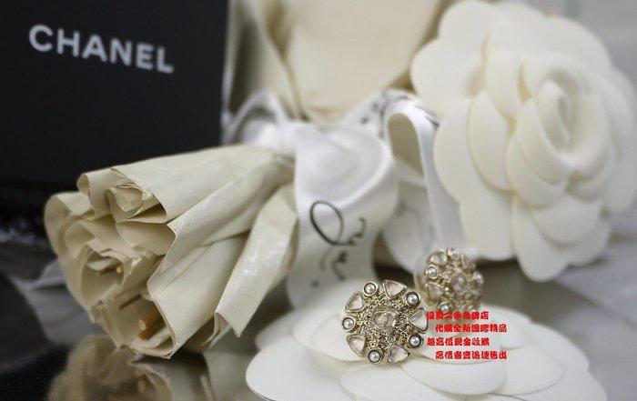 ☆優買二手精品名牌店☆ CHANEL 限量 金色 金屬 水鑽 珍珠 雪花 小花 圓形 針式 耳環 全新商品