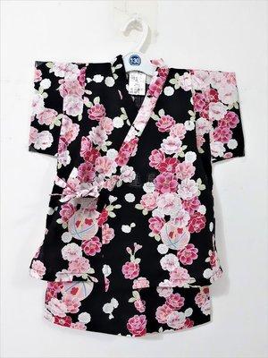 ✪胖達屋日貨✪褲款 130cm 黑底 櫻花 花球 日本 女 寶寶 兒童 和服  抓周 收涎 攝影