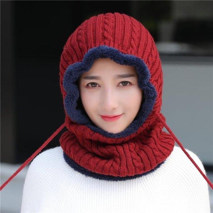帽子女秋冬季戶外防寒保暖套頭帽女針織毛線帽護耳連體騎車防風帽