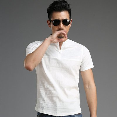 男短袖POLO衫 休閒男裝 韓版上衣 夏季歐美風個性立領短袖男士修身白色紐扣POLO衫xt3410