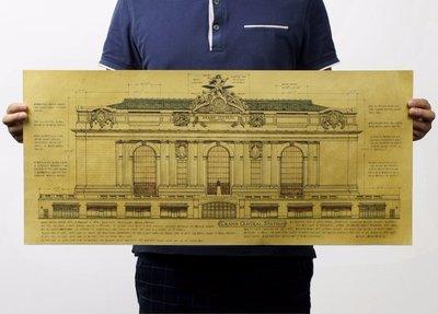 [現貨]紐約中央火車站Grand Central Terminal建築圖紙 牛皮紙懷舊復古電影海報 裝飾畫