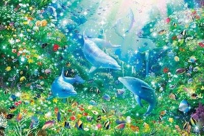 日本進口拼圖 繪畫 夢幻 海洋寶藏 海豚  Lassen 2016片夜光拼圖 23-718