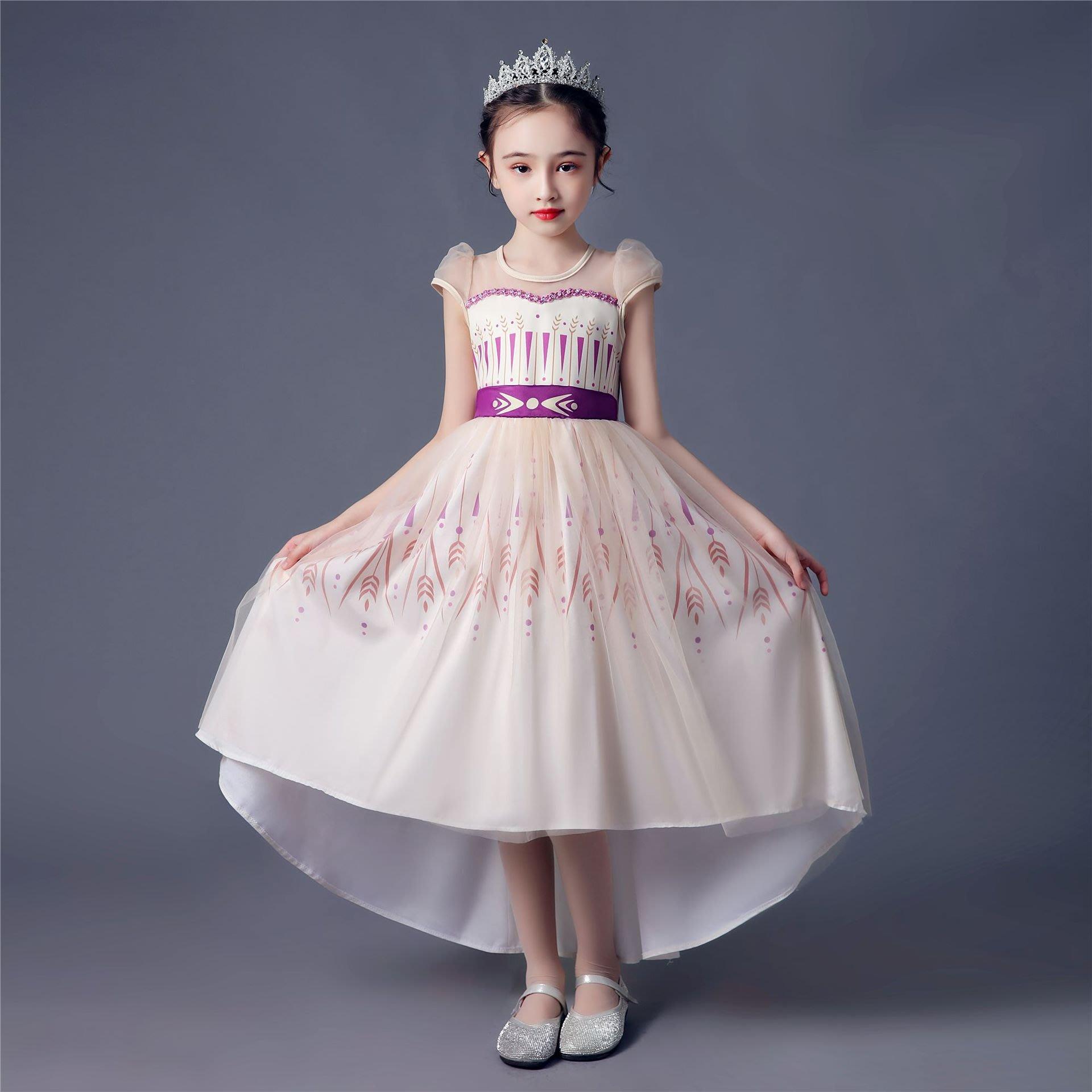 •*~ 辣媽咪衣飾小舖 ~*•❤童裝系列❤K970297韓版大童夏款冰雪奇緣艾莎公主洋氣長袖禮服洋裝