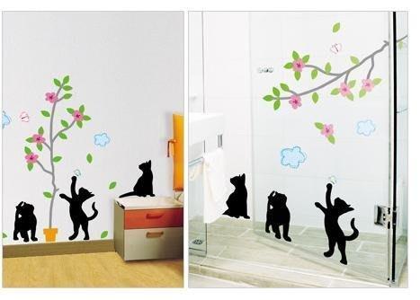 【皮蛋媽的私房貨】韓國壁貼&壁紙*室內設計/裝飾*樹下玩耍小黑貓
