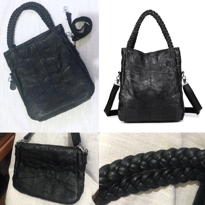 小羊皮 麻花編織3way多功能拼接肩揹包/購物袋/側背包 《BRITISH WAVE》