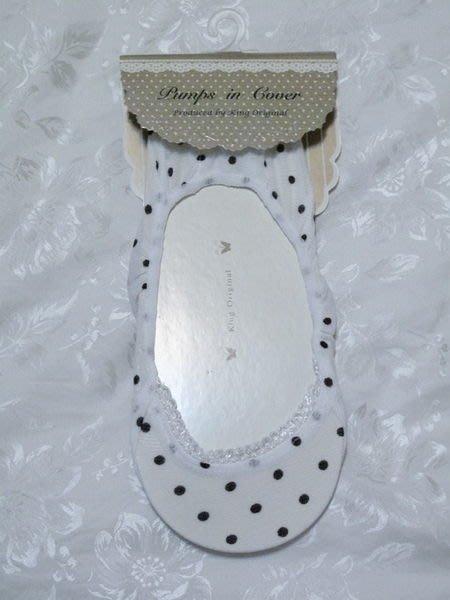 天使熊小鋪~日本帶回 白色圓點絲襪 蕾絲船型襪 襪底加裝舒適鞋墊 原價199