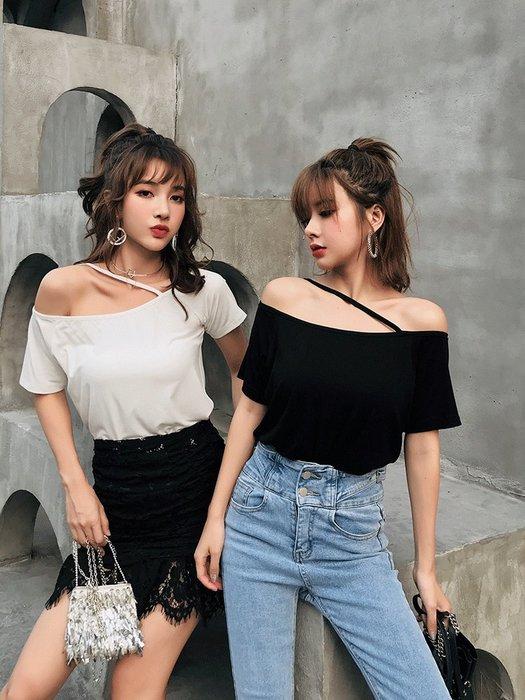❤Princess x Shop❤一字露肩吊帶短袖T恤DL9052424正韓國連線吊帶褲洋裝一字領露肩