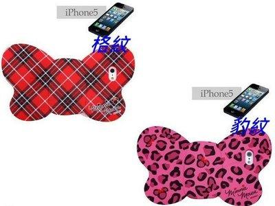 *凱西小舖*日本進口迪士尼正版米妮MINNIE格紋/豹紋蝴蝶結造型I-PHONE 5 5S保護套*2選1