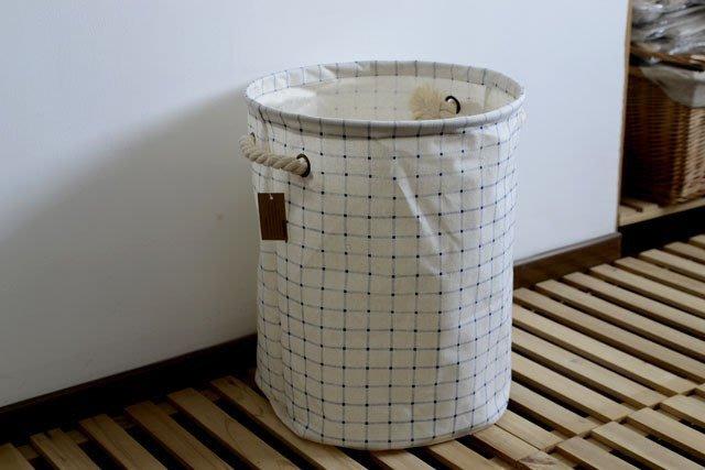 【愛麗絲生活家飾雜貨】zakka鄉村風藍格子棉繩手把收納袋/收納桶/衣物收納籃/洗衣籃
