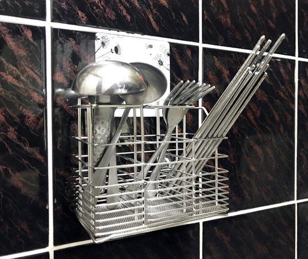 *新世代*S-60-3N免鑽孔筷子籃,304不鏽鋼大尺寸筷籠、萬用籃,可作牙刷架、筷子籃,頂級不銹鋼廚房置物架