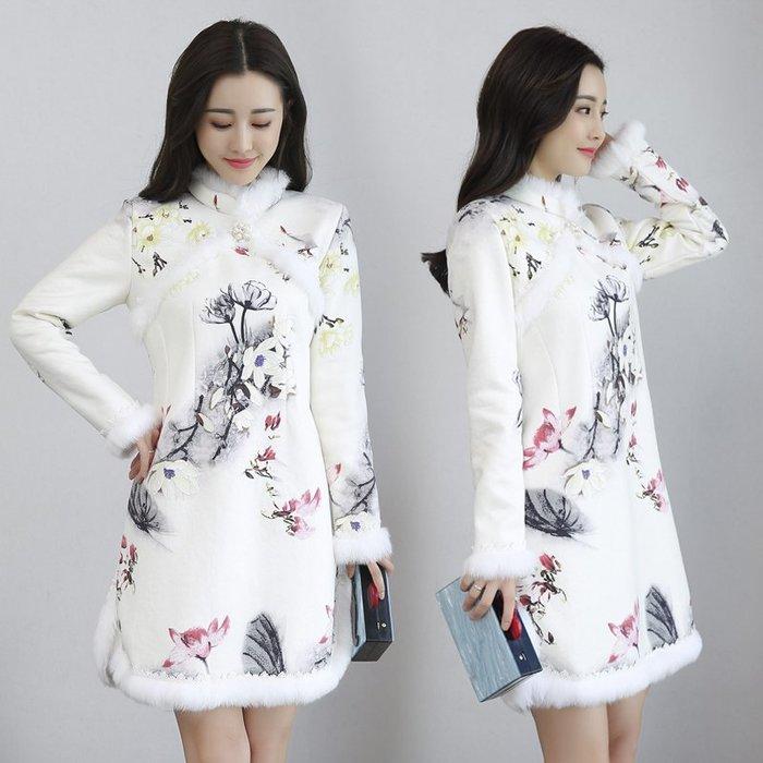 韓版 棉麻 大尺碼 連身裙 雪紡 寬鬆 秋冬羊羔絨加絨加厚改良旗袍中國民族風鹿皮絨旗袍連衣裙
