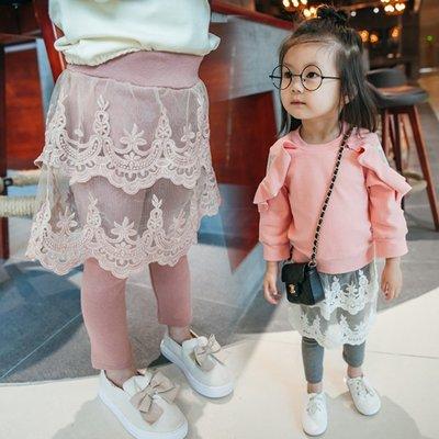 ♥【GK0111】韓版女童裝甜美蕾絲裙長褲 2色 (巧克力色 現貨) ♥