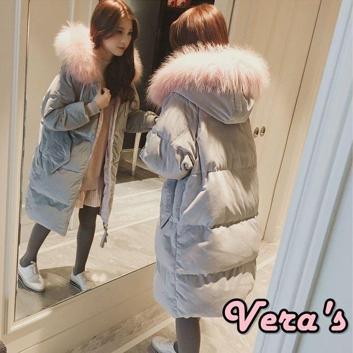 【V1801006】(預購)冬季絲絨棉襖連帽大毛領羽絨中長款外套