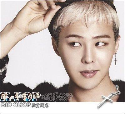 K~POP明星事務所~正韓 ASMAMA官方正品 BIGBANG 權志龍 GD 同款雙圓珠銀光十字吊墜耳環(單支價)