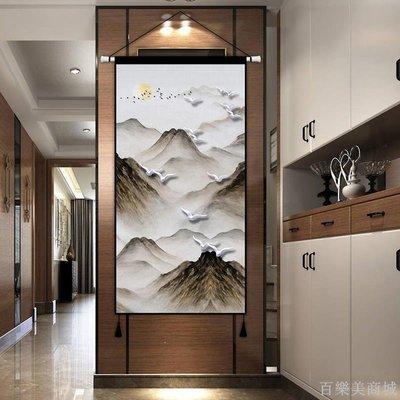 百樂美商城 中式中國風抽象布藝掛畫入戶玄關走廊裝飾畫豎版客廳墻面布畫床頭