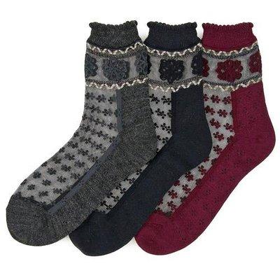 日本製 精製雕花設計透膚短襪   材質舒適  造型美麗  紅/黑/灰 三色可選