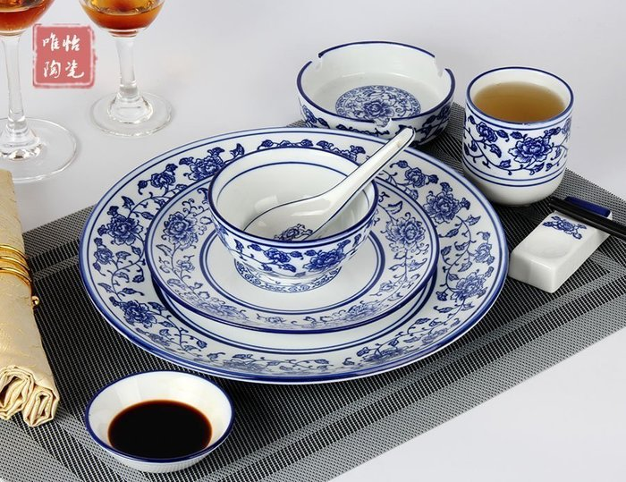 【優上精品】陶瓷餐具農家擺台包廂特色蓮花青花瓷套裝盤子碗骨碟高溫青花邊套裝(Z-P3207)
