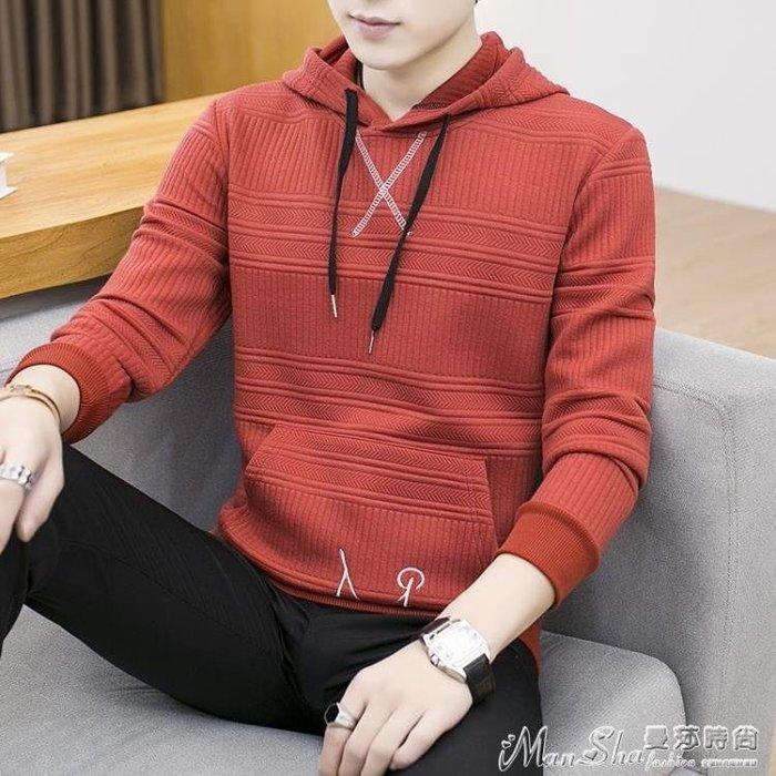 連帽T恤秋季新款連帽長袖T恤男士上衣服帶帽秋衣學生韓版衛衣