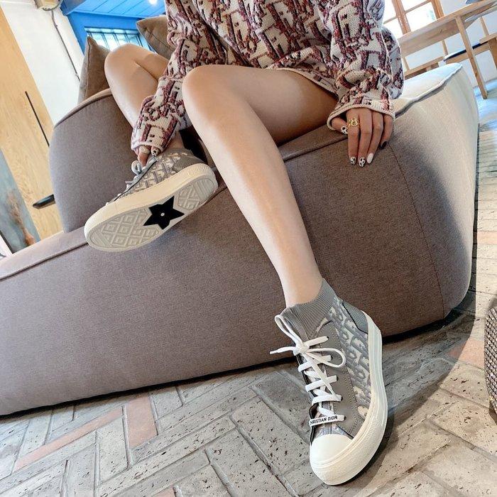 D家 女士老花斜紋刺繡針織面料休閑運動鞋 厚底鞋 增高鞋 KCK233TOK_S56B