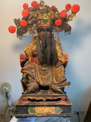 早期木雕池王 1尺3池府王爺 池府千歲 老神像