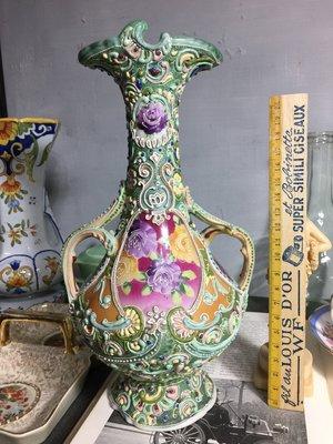 白明月藝術/古物雜貨店 歐洲老手繪瓷器花瓶