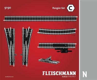 傑仲 博蘭 FLEISCHMANN 鐵軌零件 Track pack Station Set C 9190 N