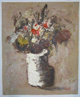 『府城畫廊-手繪油畫』厚油花卉畫-畫風獨特細膩-50x60-(可加框)-有實體店面,請看關於我聯繫-G1305