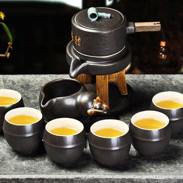 5Cgo【茗道】含稅會員有優惠534126385157 復古石磨半自動茶具功夫創意個性粗陶瓷茶壺泡茶器沖水整套茶壺茶杯公