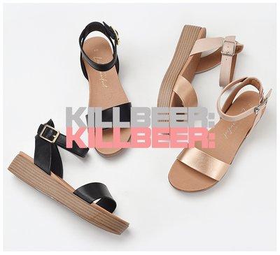 KillBeer:超舒服的!漂丿的都市名媛之歐美復古品牌外流舒適超好走扣環一字繫帶絕黑/玫瑰金厚底增高涼鞋A051318