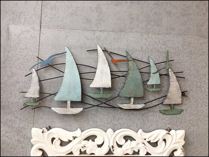 立體鐵件彩色仿古帆船與海鷗壁飾 藍色刷舊一帆風順鐵藝壁貼 海洋風壁掛牆面裝飾造型壁飾【歐舍傢居】