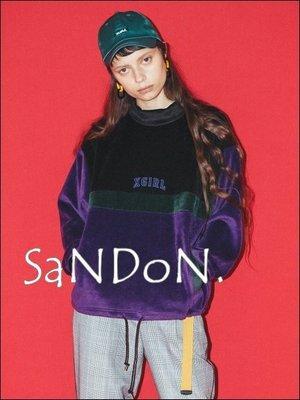 SaNDoN x『X-GIRL』FLEECY COLORBLOCK TOP /復古立領羊絨粒抽繩拼色上衣 171215