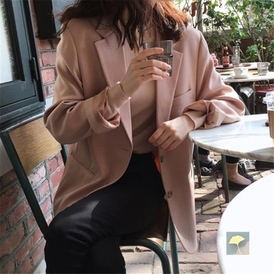 ZIHOPE 女生上裝CHIC小西裝外套女春秋學生森系寬松韓版復古純色長袖網紅小西裝潮ZI812