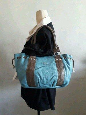 紫庭雜貨*全新  皮包 牛皮土耳其藍 黛安娜Diana 肩背包 側背包 手提包  手拿包小筆電包 造型別緻 出清優惠