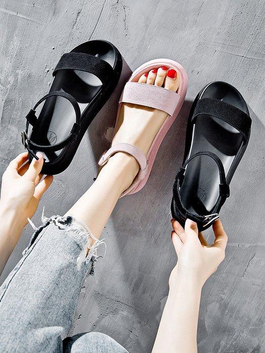 創意夏季女鞋 涼鞋女ins潮 夏新款韓版厚底時尚網紅羅馬鞋仙女風百搭配裙子