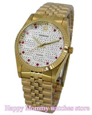 【 幸福媽咪 】PROKING 皇冠 日本星辰機芯 蠔士璀璨晶鑽滿天星時尚男腕錶35mm