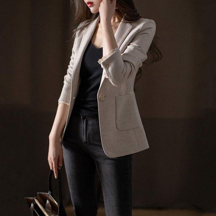 春秋可穿 重磅精品 燕麥色西外 氣質通勤一粒扣羊毛西裝外套 [Classique*真經典] 100302