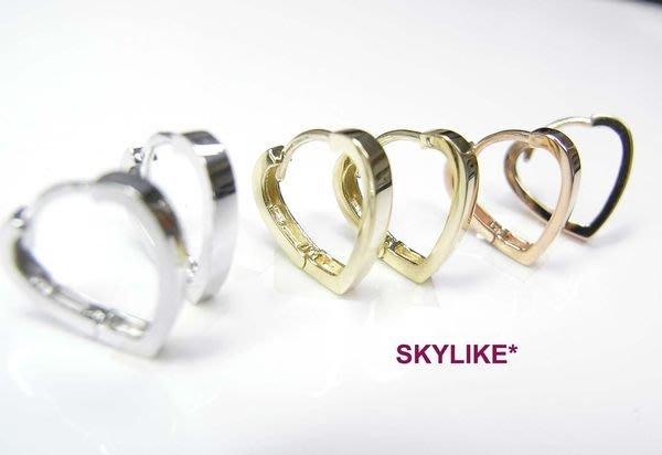 *SKYLIKE* 最可愛-韓國進口585/14K白K金、玫瑰K金、黃K金亮面~心型純愛風~易扣耳環0613k
